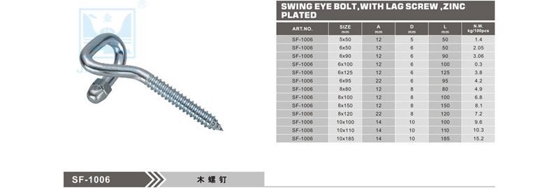 SF-1006 Swing eyebolt with Lag crew